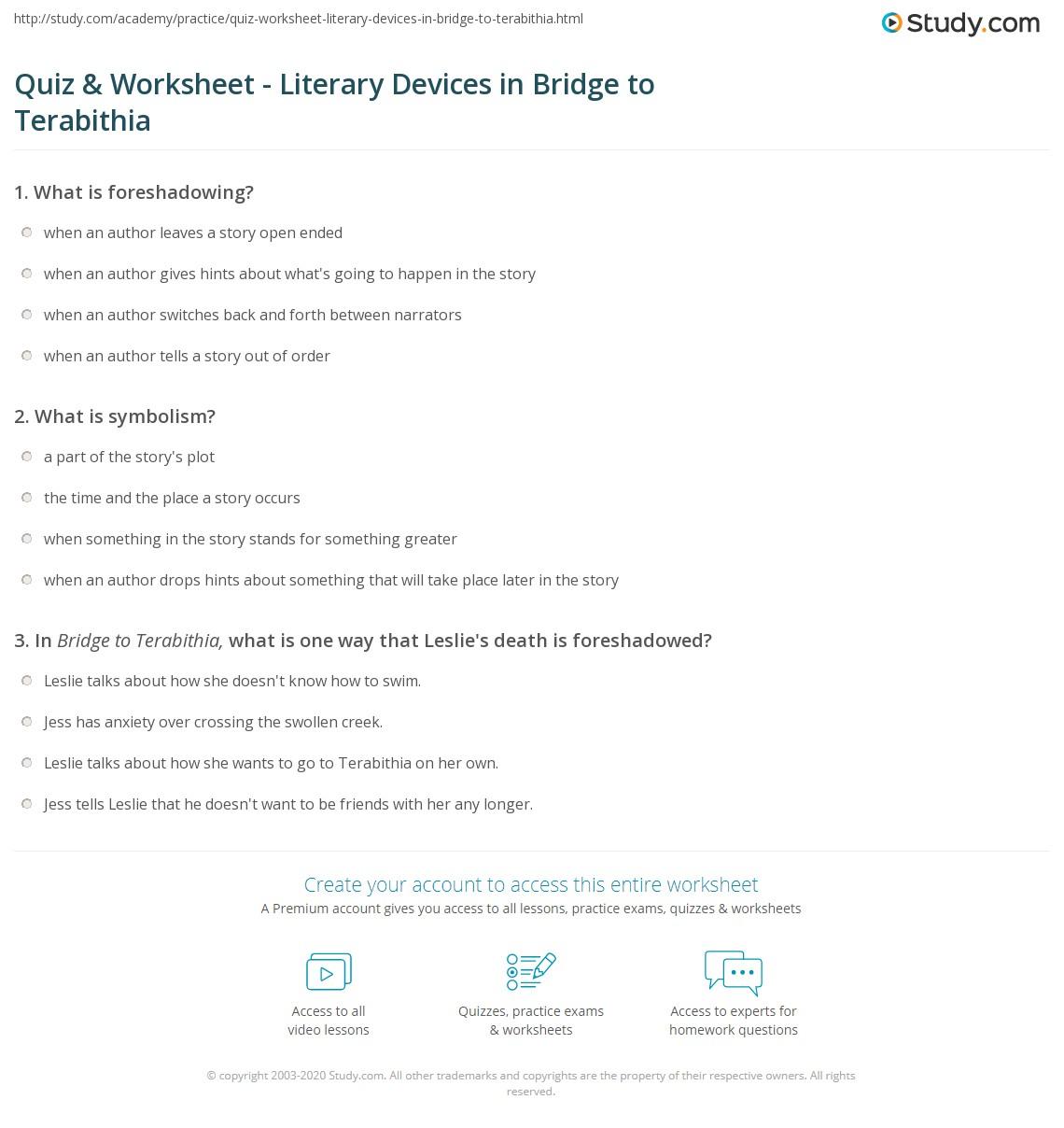 Quiz Worksheet Literary Devices In Bridge To Terabithia Study
