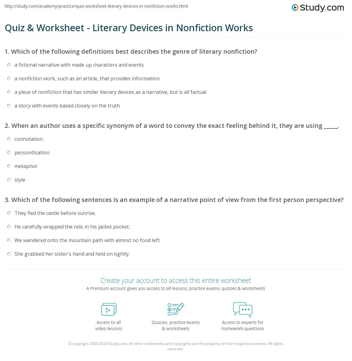 Quiz Worksheet Literary Devices In Nonfiction Works Studycom