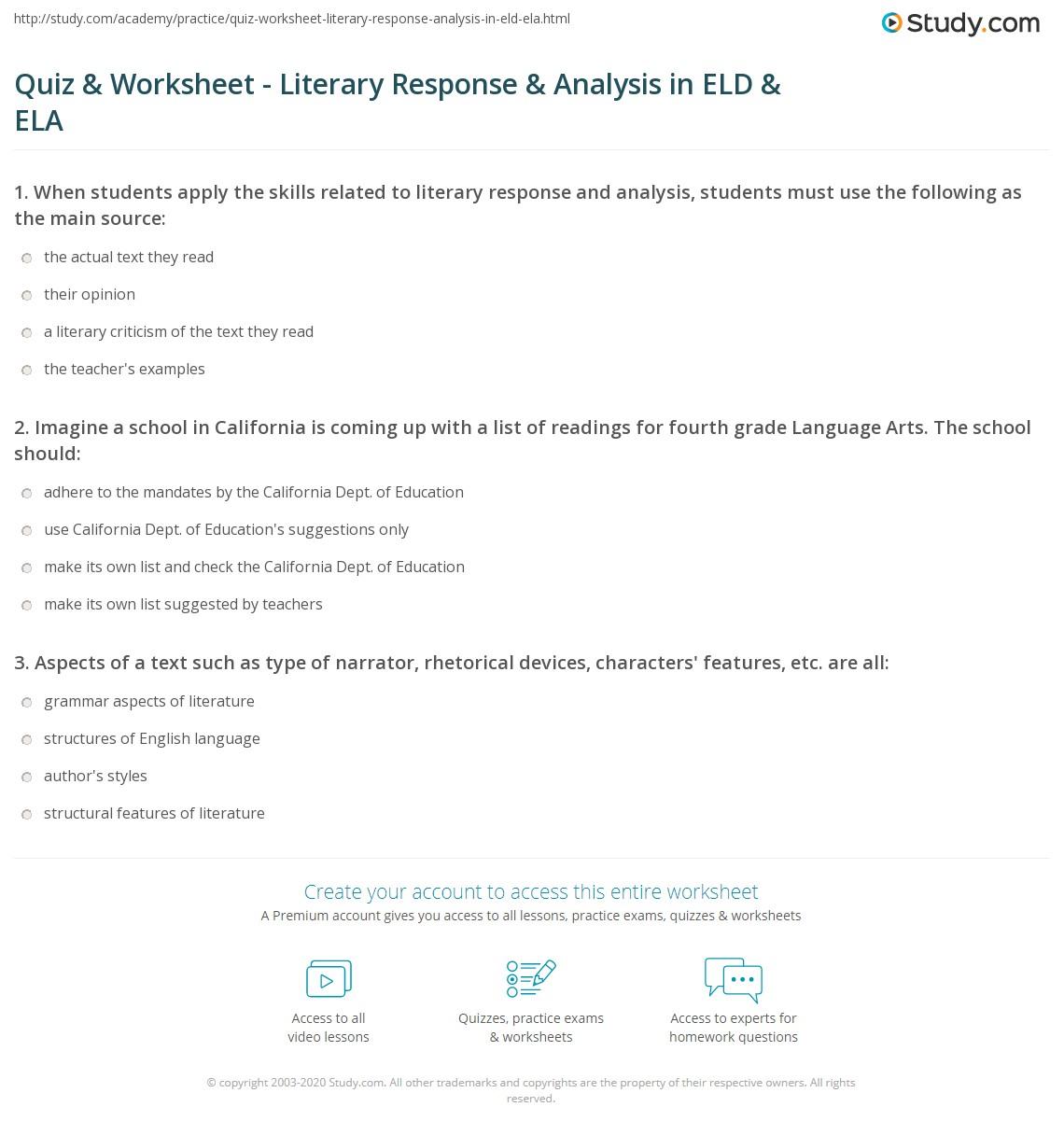 Quiz Worksheet Literary Response Analysis In Eld Ela Study