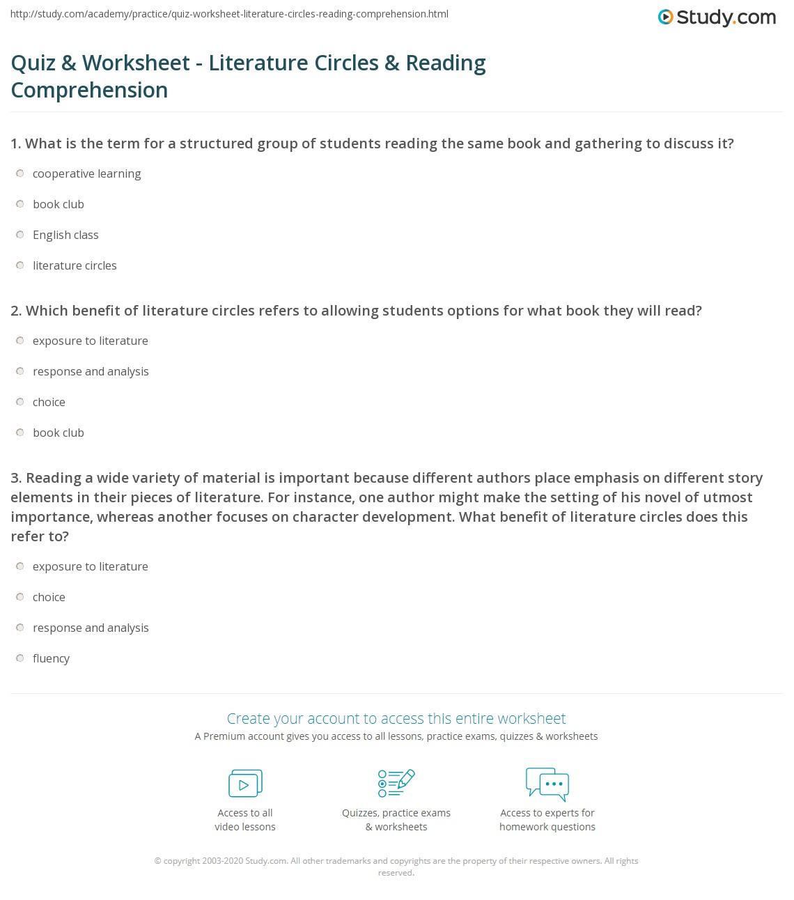 Quiz Worksheet Literature Circles Reading