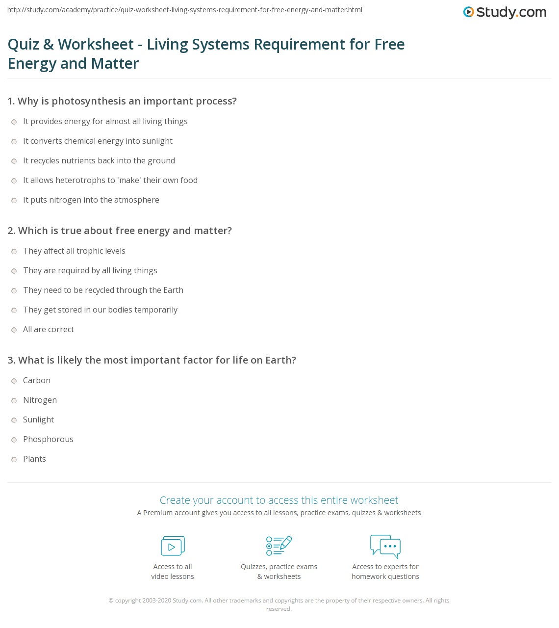 Quiz & Worksheet - Living Systems Requirement for Free ...