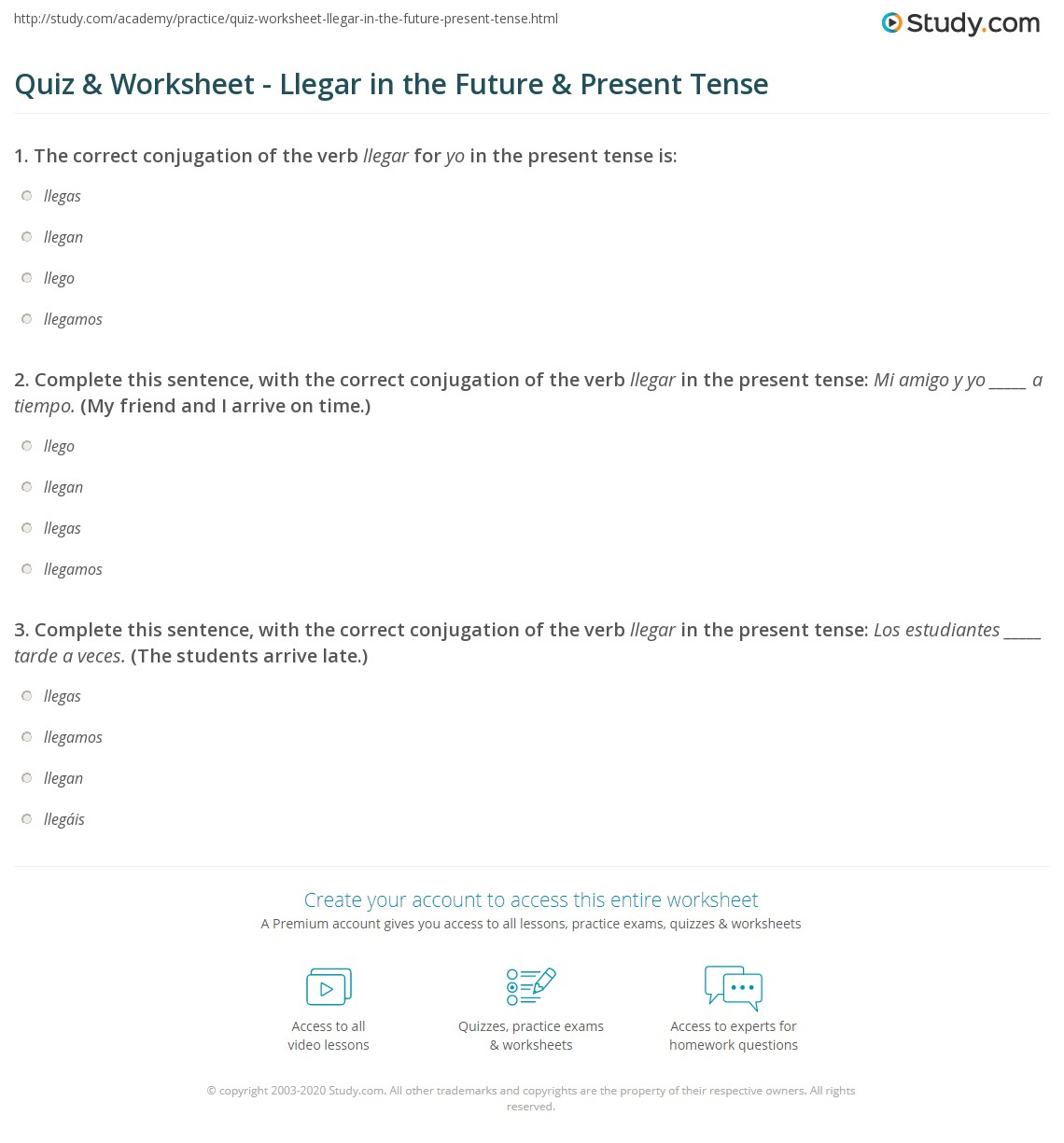 Quiz & Worksheet - Llegar in the Future & Present Tense | Study.com