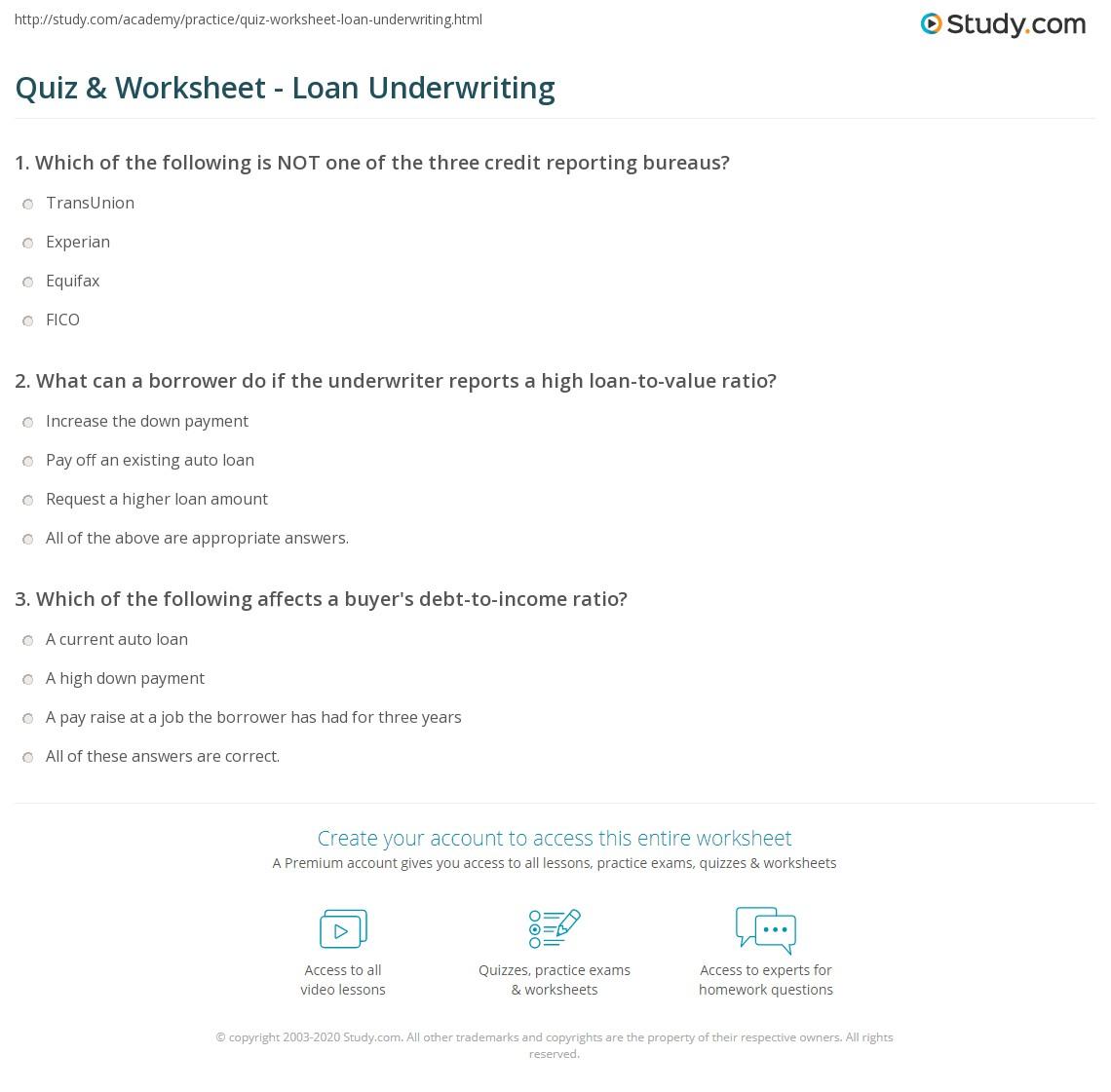 Quiz \u0026 Worksheet Loan Underwriting Study Com Debt To Income Ratio Calculator Print Loan Underwriting Definition, Process \u0026 Purpose Worksheet