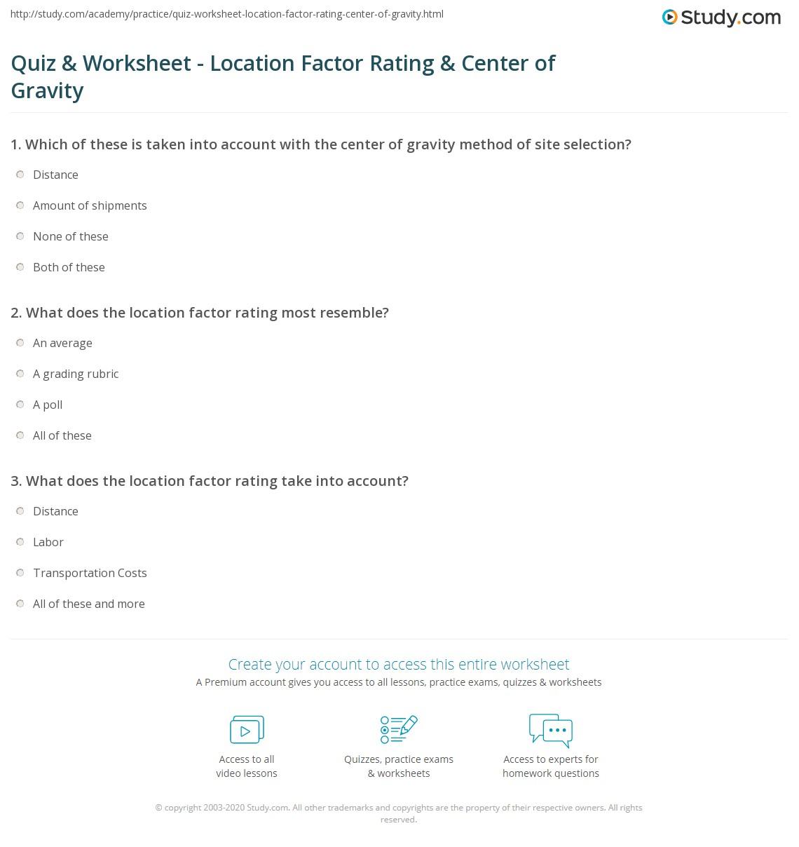 worksheet Gravity Worksheet quiz worksheet location factor rating center of gravity print in site planning worksheet
