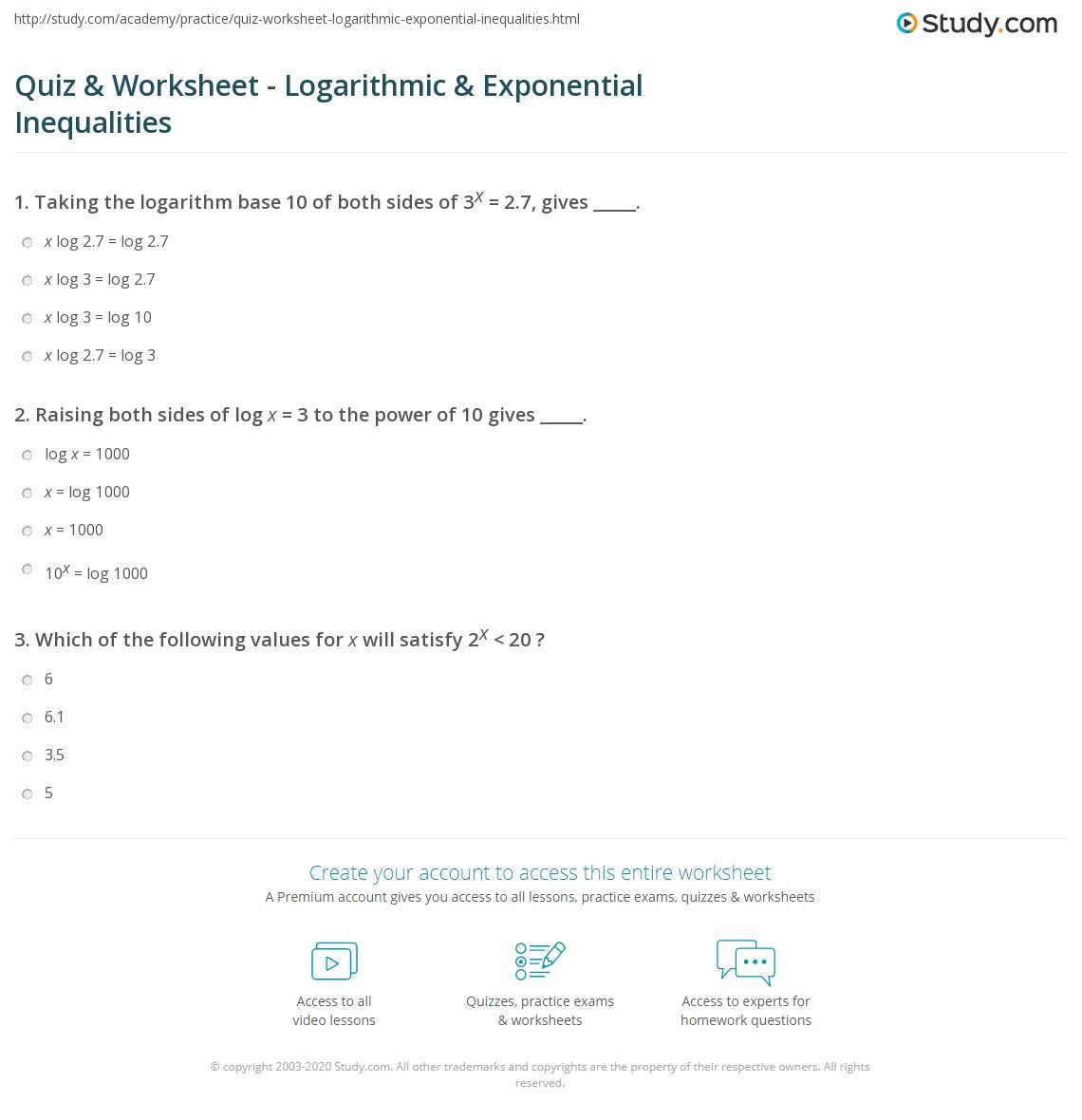 Quiz & Worksheet - Logarithmic & Exponential Inequalities   Study.com
