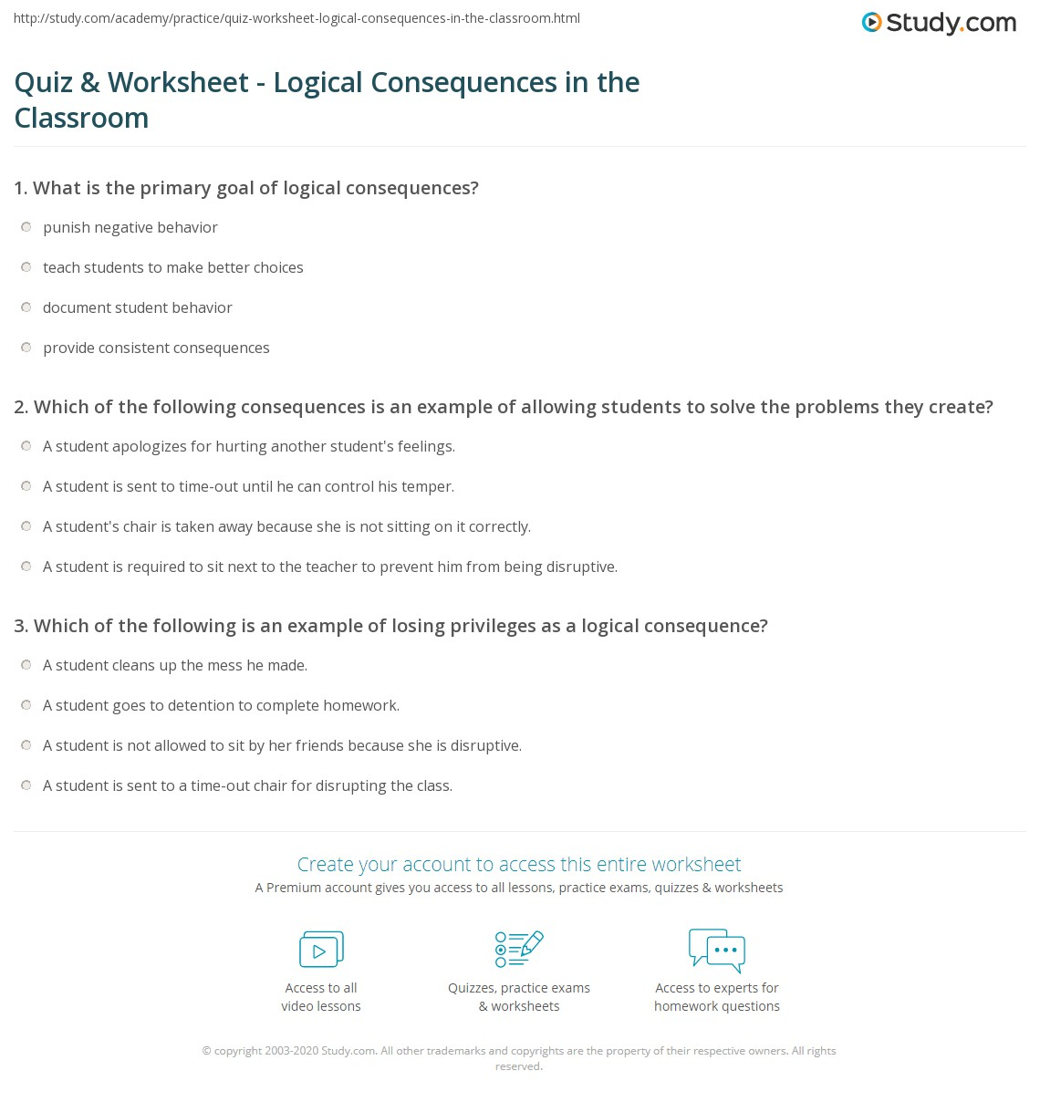 Worksheets Choices And Consequences Worksheet quiz worksheet logical consequences in the classroom study com print using definition examples worksheet
