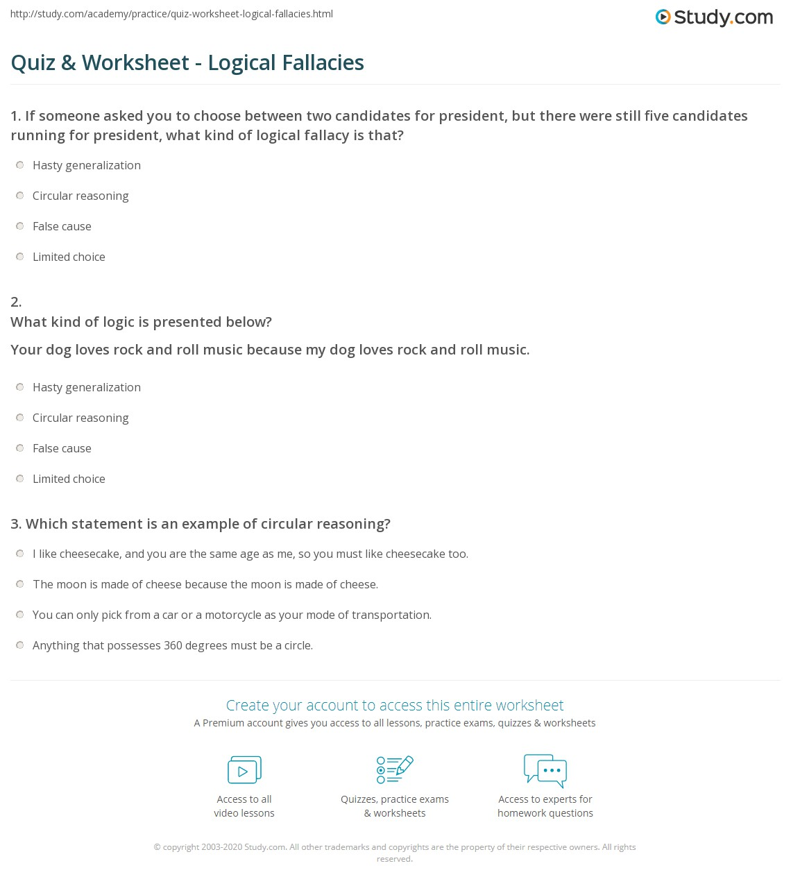 quiz worksheet logical fallacies. Black Bedroom Furniture Sets. Home Design Ideas