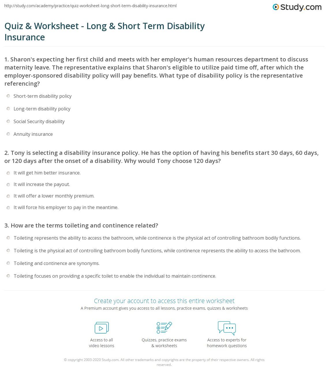 Short Term Disability : Quiz worksheet long short term disability insurance