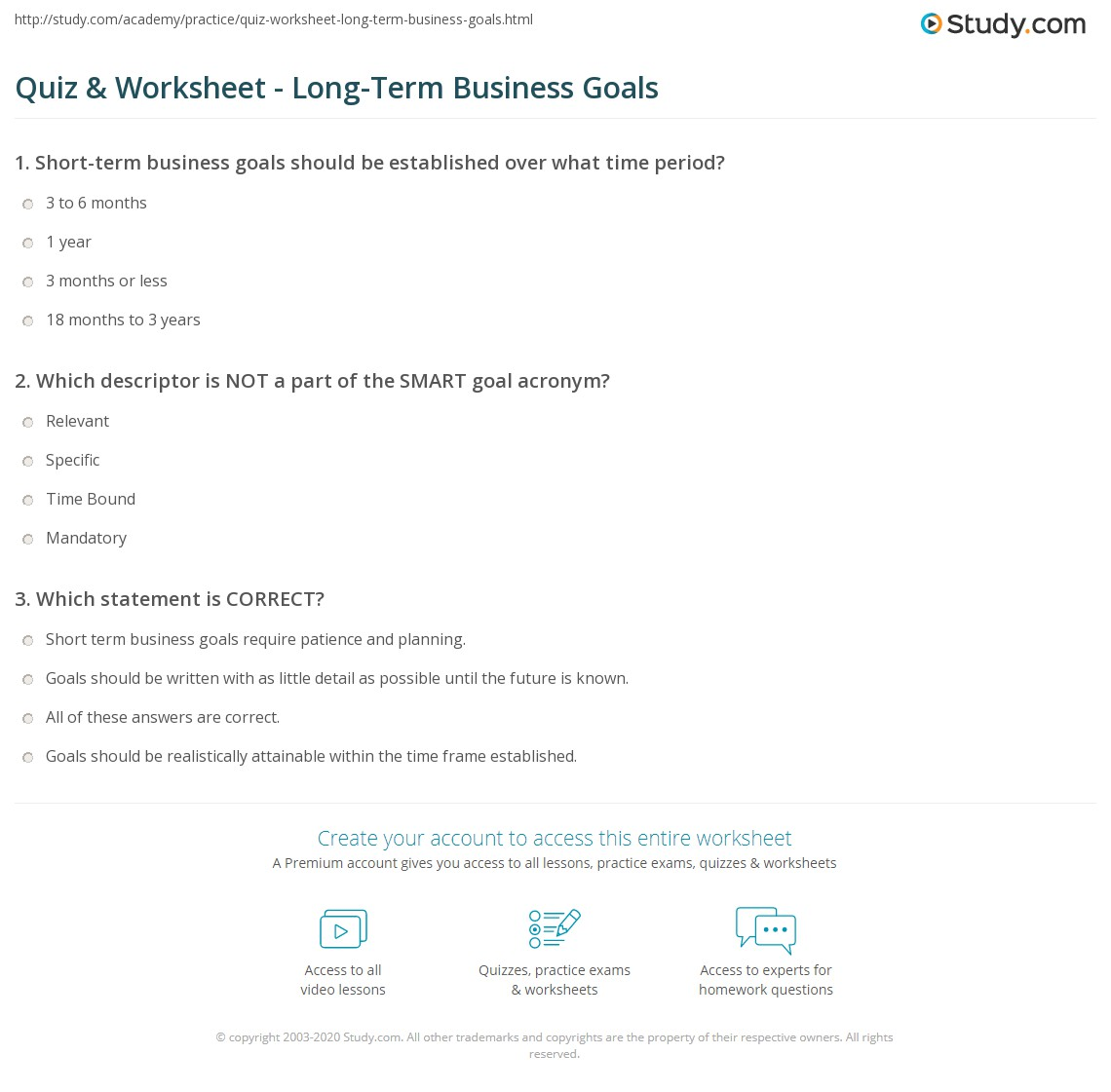 print long term business goals definition examples worksheet