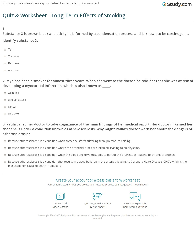 Long Term Effects Of Smoking >> Quiz Worksheet Long Term Effects Of Smoking Study Com