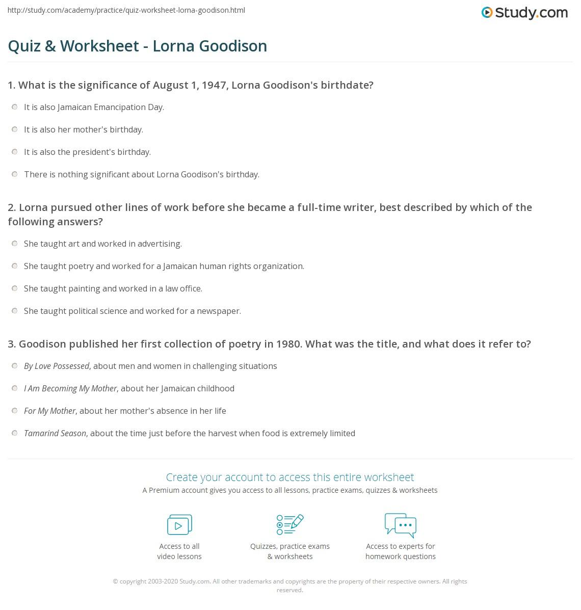Quiz Worksheet Lorna Goodison Study Com