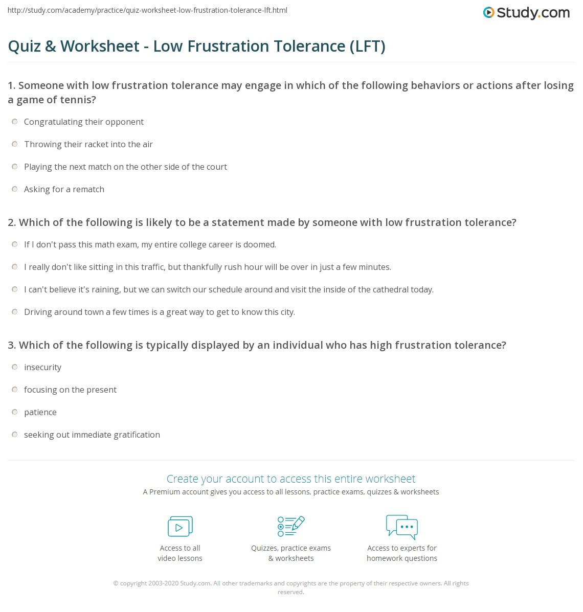 Worksheets Radical Acceptance Worksheet tolerance worksheets switchconf quiz worksheet low frustration lft study com