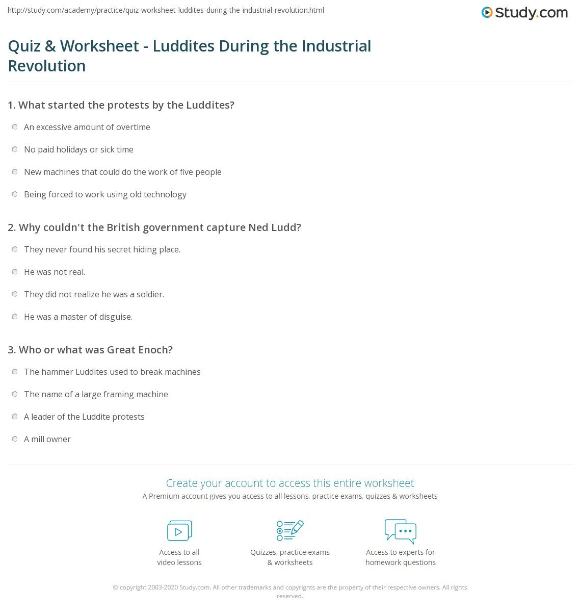 Quiz Worksheet Luddites During The Industrial