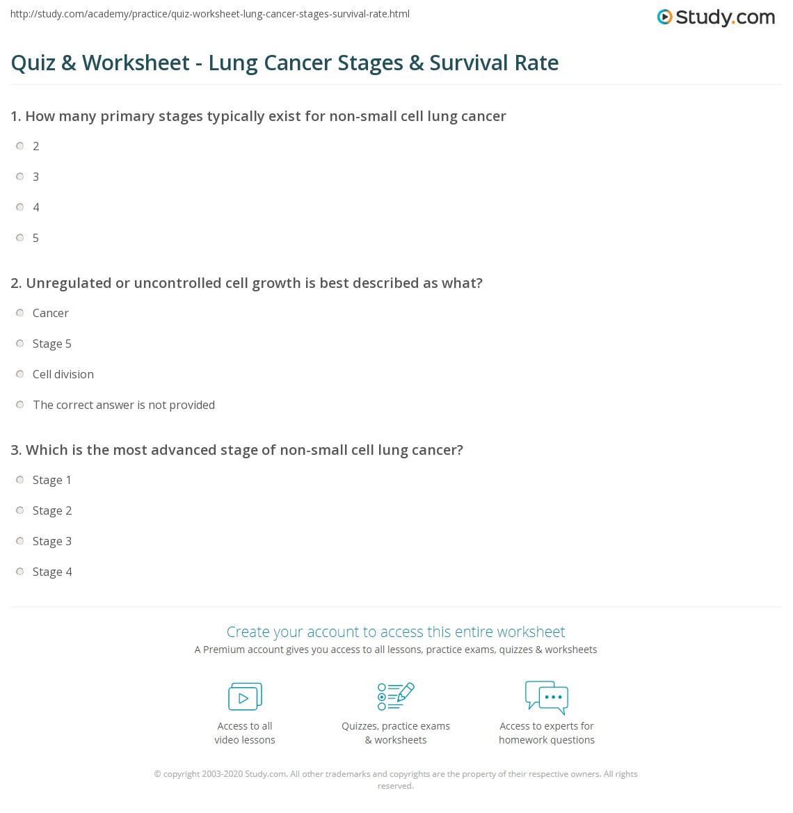 Quiz & Worksheet - Lung Cancer Stages & Survival Rate