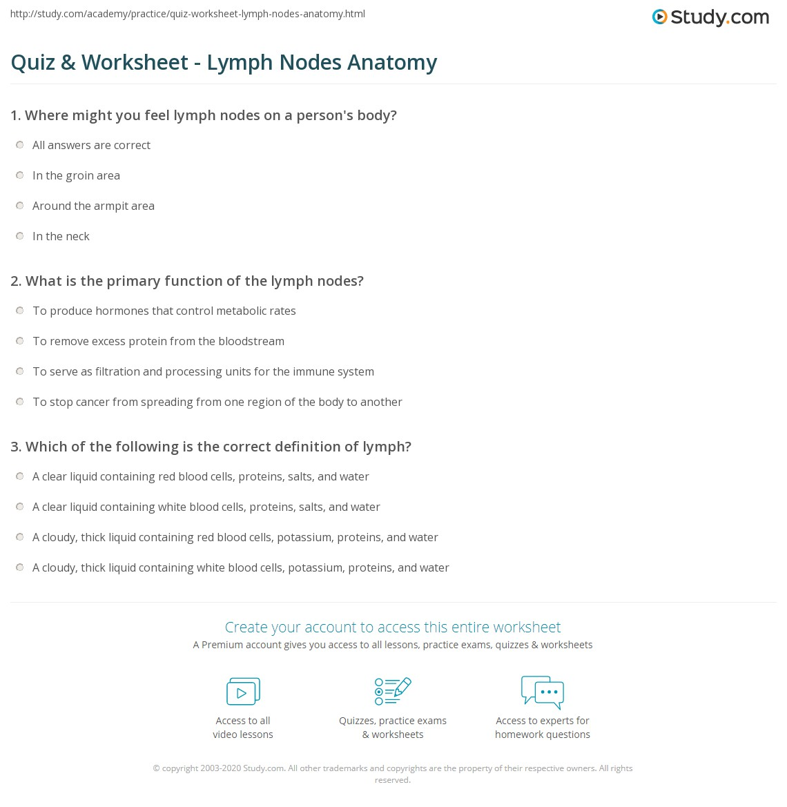 Quiz & Worksheet - Lymph Nodes Anatomy | Study.com