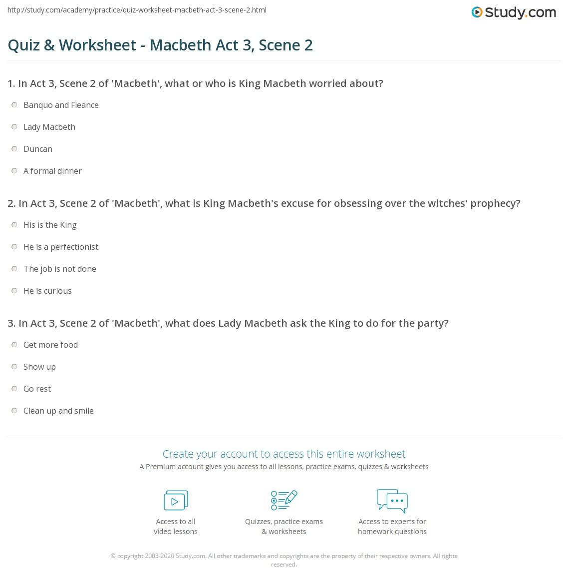 Print Macbeth Act 3, Scene 2: Summary & Quotes Worksheet