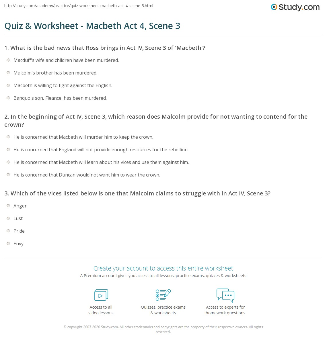 quiz worksheet macbeth act scene com print macbeth act 4 scene 3 summary quotes worksheet