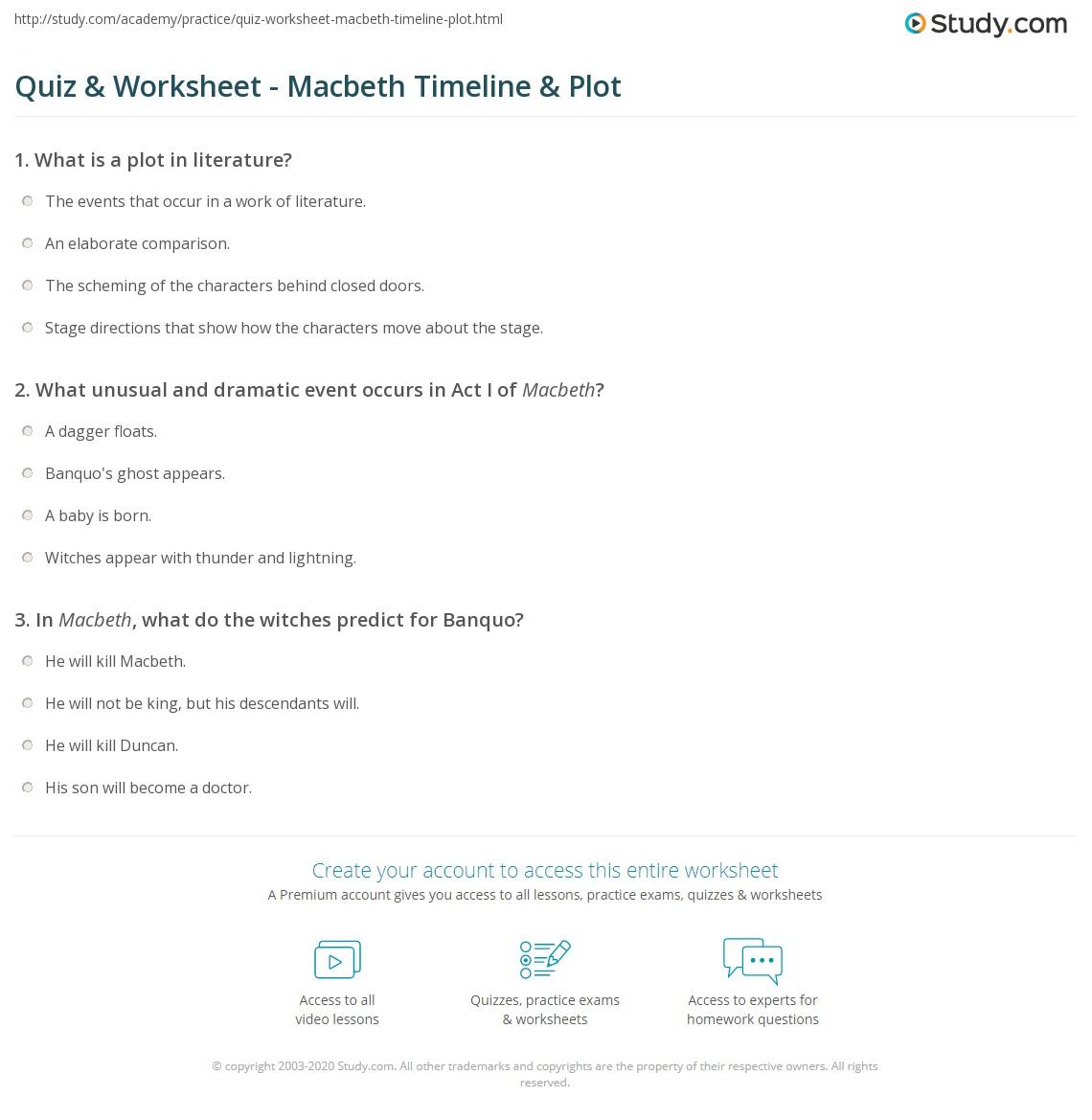 Quiz & Worksheet - Macbeth Timeline & Plot | Study.com