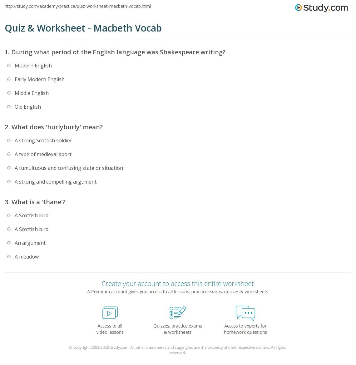 Quiz Worksheet Macbeth Vocab – Vocab Worksheet