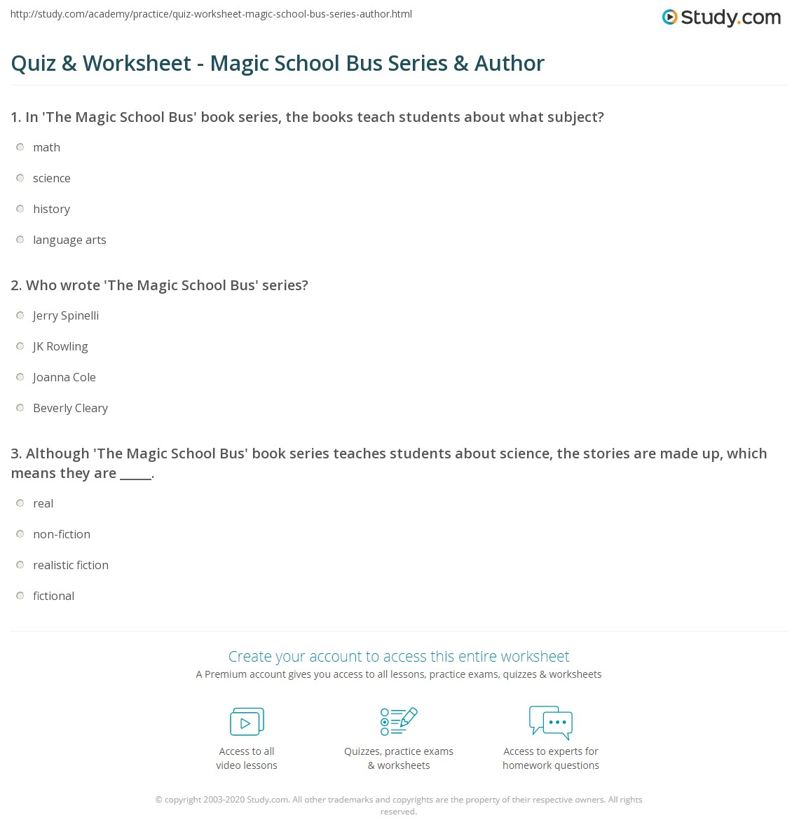 worksheet Magic School Bus Video Worksheets quiz worksheet magic school bus series author study com print the book worksheet