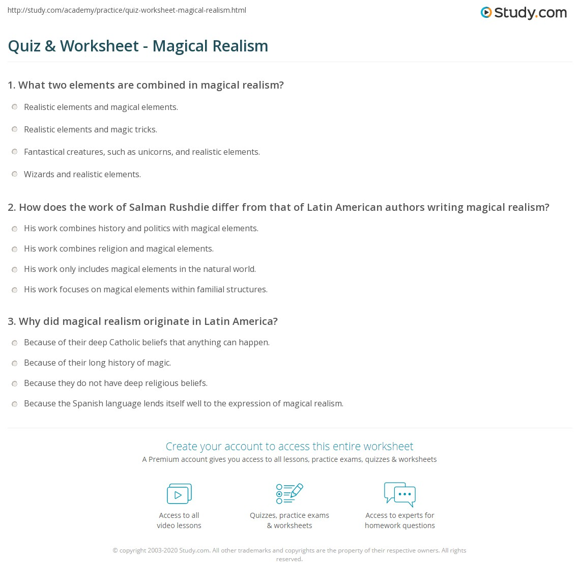 Quiz Worksheet Magical Realism Study