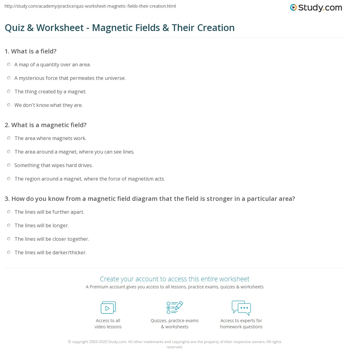 quiz & worksheet - magnetic fields & their creation | study