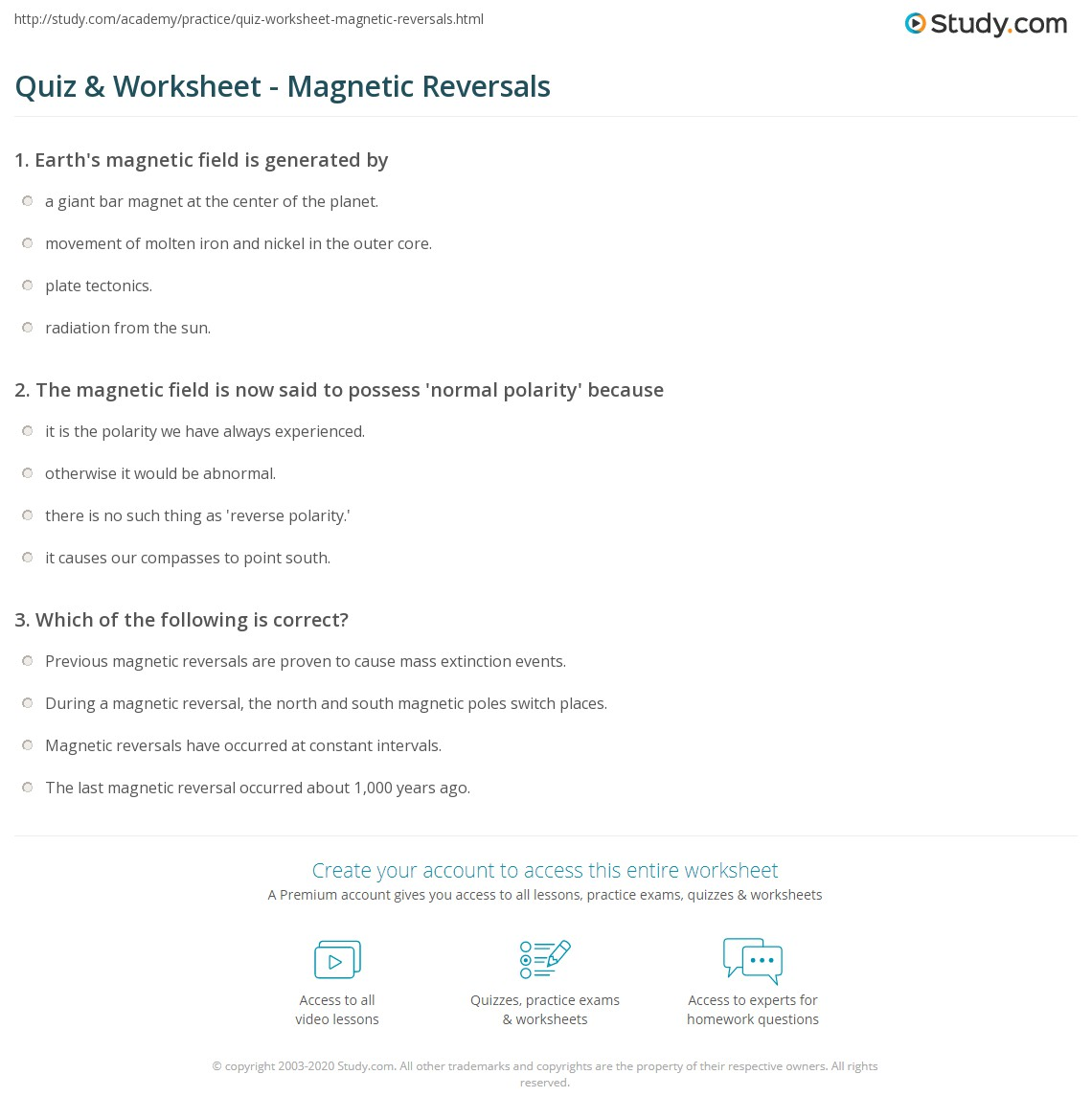 Quiz worksheet magnetic reversals study print magnetic reversals overview worksheet fandeluxe Image collections