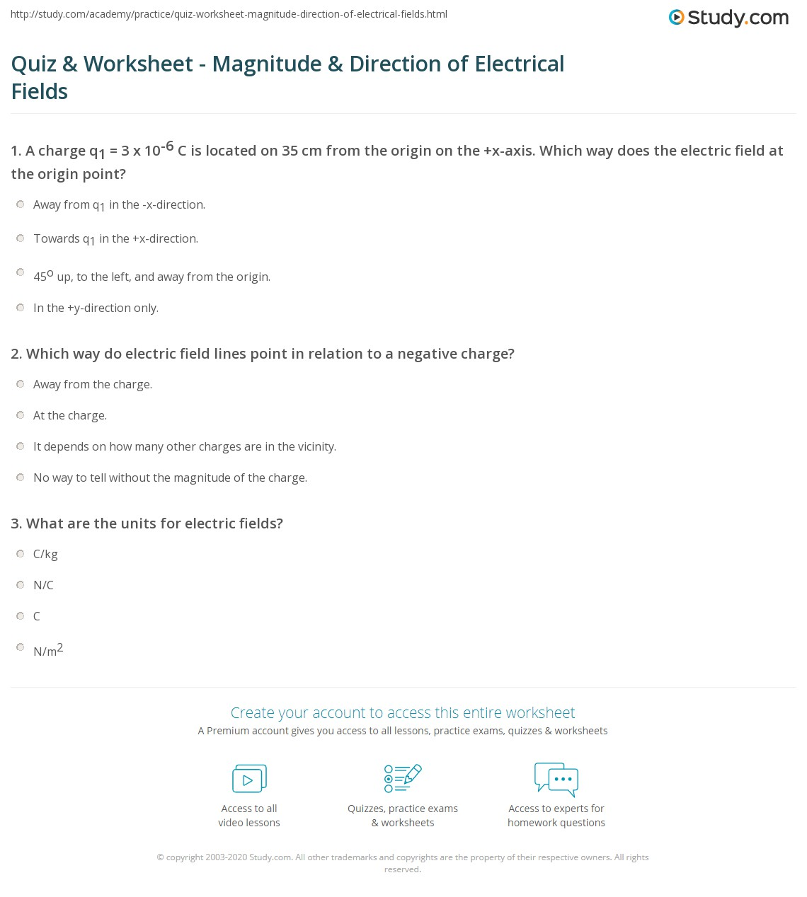 Worksheets Electric Field Worksheet quiz worksheet magnitude direction of electrical fields print determining representing worksheet