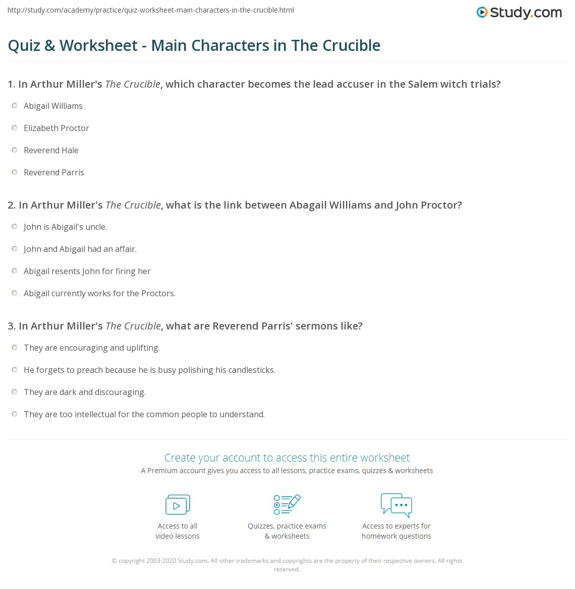 quiz worksheet main characters in the crucible. Black Bedroom Furniture Sets. Home Design Ideas