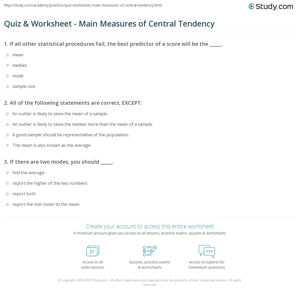 quiz worksheet main measures of central tendency. Black Bedroom Furniture Sets. Home Design Ideas
