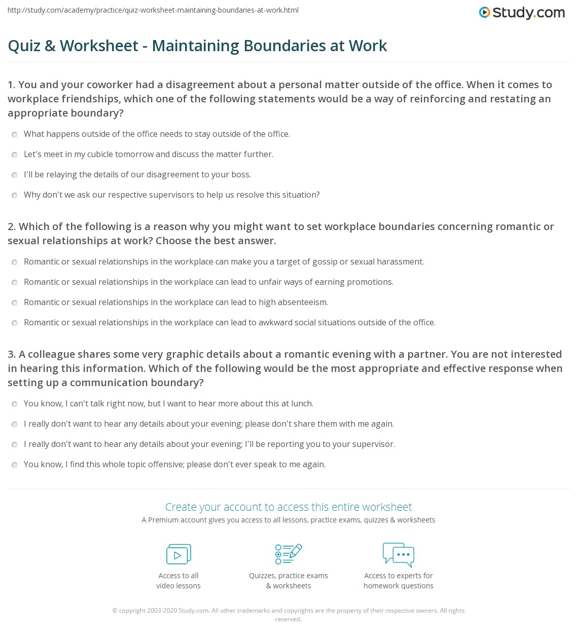 Worksheets Boundaries Worksheets quiz worksheet maintaining boundaries at work study com print the importance of creating in workplace worksheet