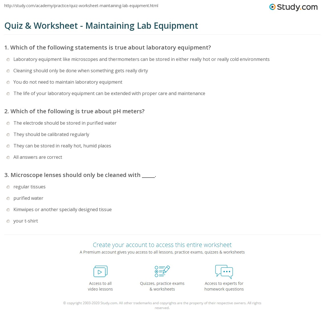 Worksheets Microscope Lab Worksheet quiz worksheet maintaining lab equipment study com print care maintenance of laboratory worksheet