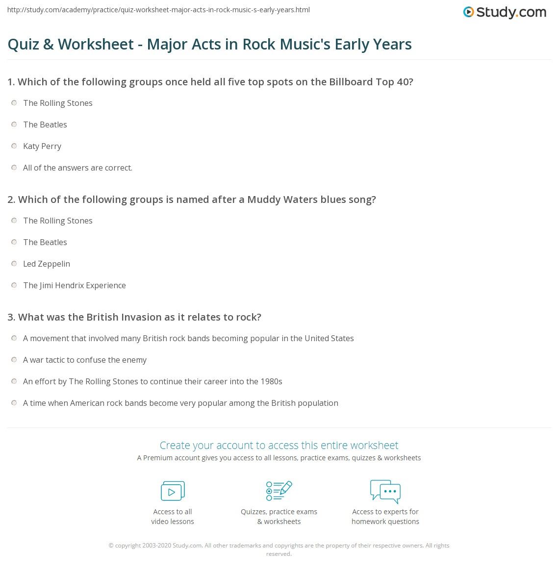 Quiz & Worksheet - Major Acts in Rock Music's Early Years