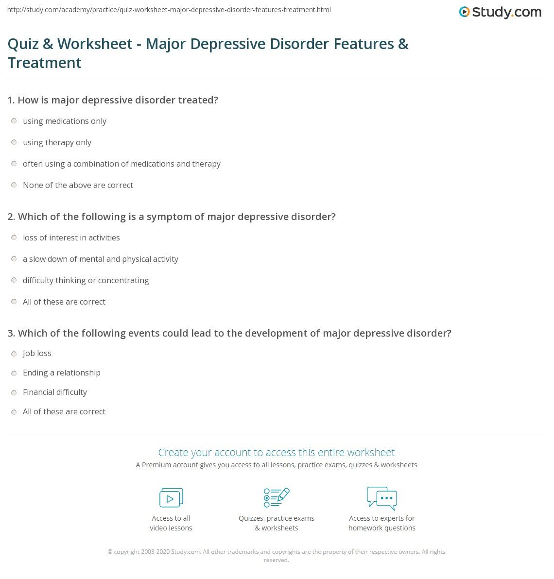 quiz & worksheet - major depressive disorder features & treatment