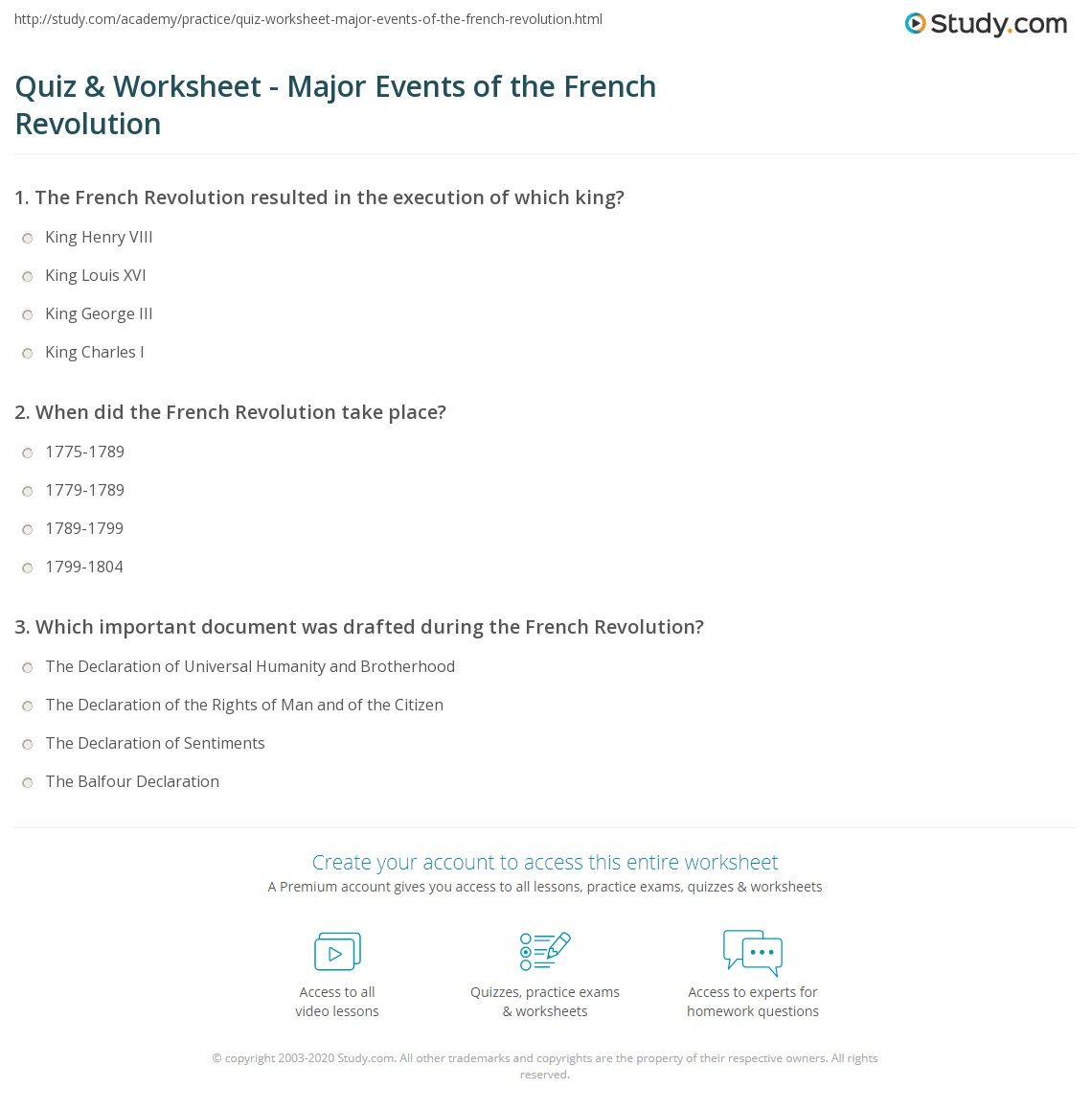 Quiz & Worksheet - Major Events of the French Revolution | Study.com