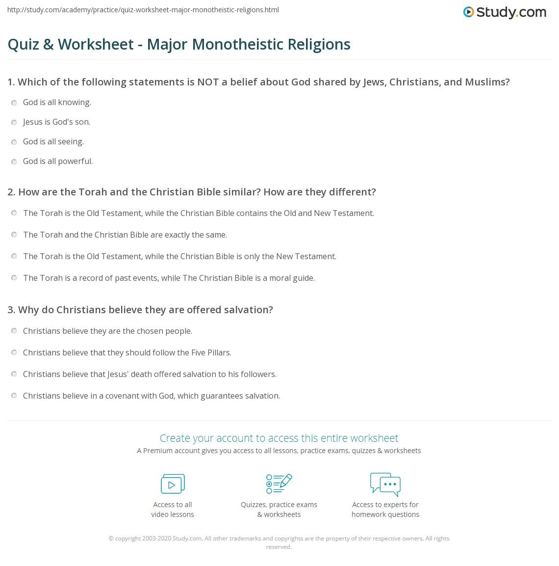 Quiz & Worksheet - Major Monotheistic Religions | Study.com