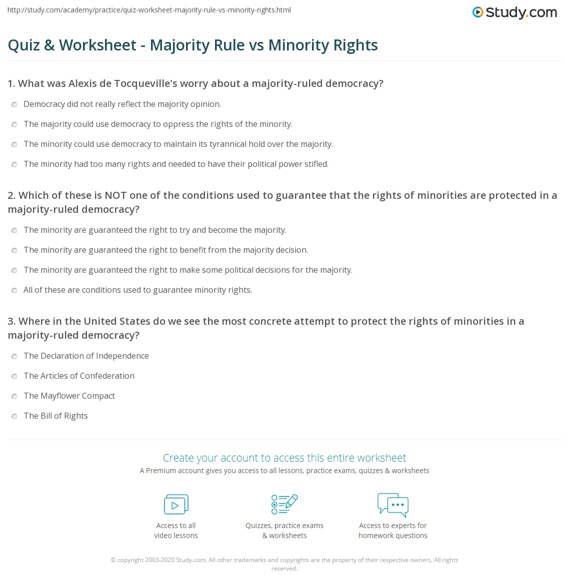 Majority Rule Minority Rights