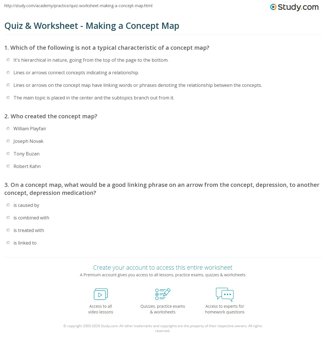 Quiz Worksheet Making A Concept Map Study