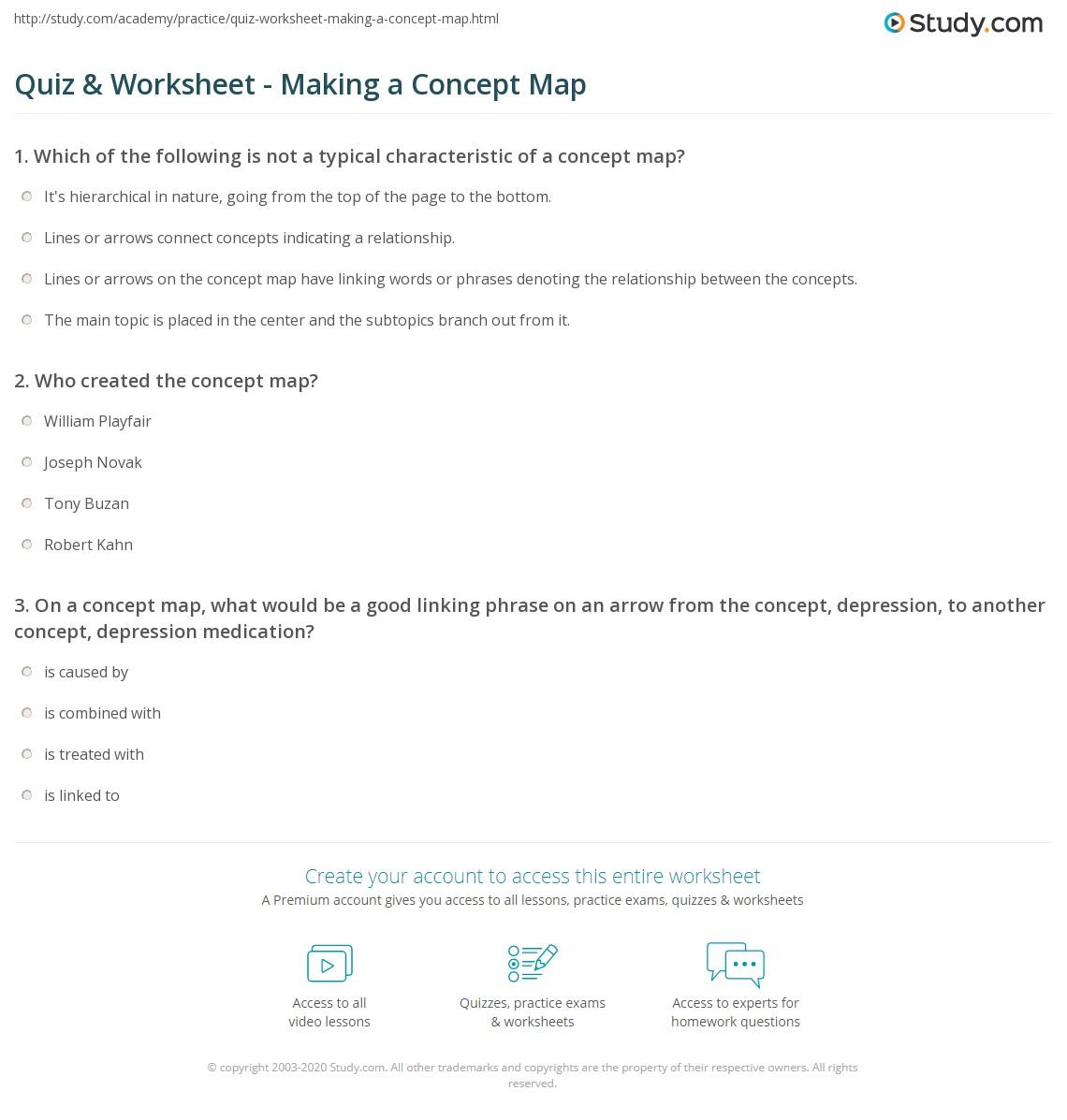Quiz & Worksheet - Making a Concept Map | Study.com