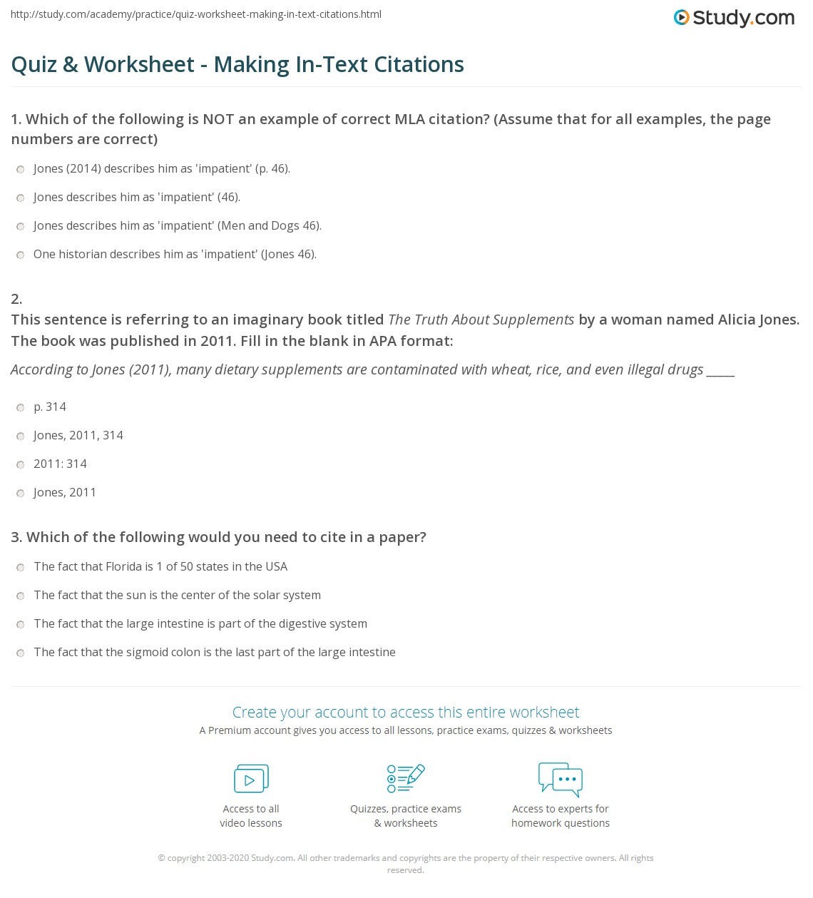 Quiz Worksheet Making In Text Citations Study Com