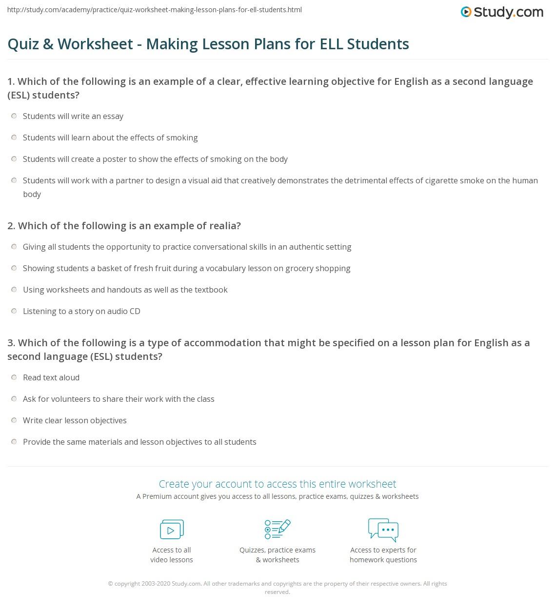 Quiz & Worksheet - Making Lesson Plans for ELL Students