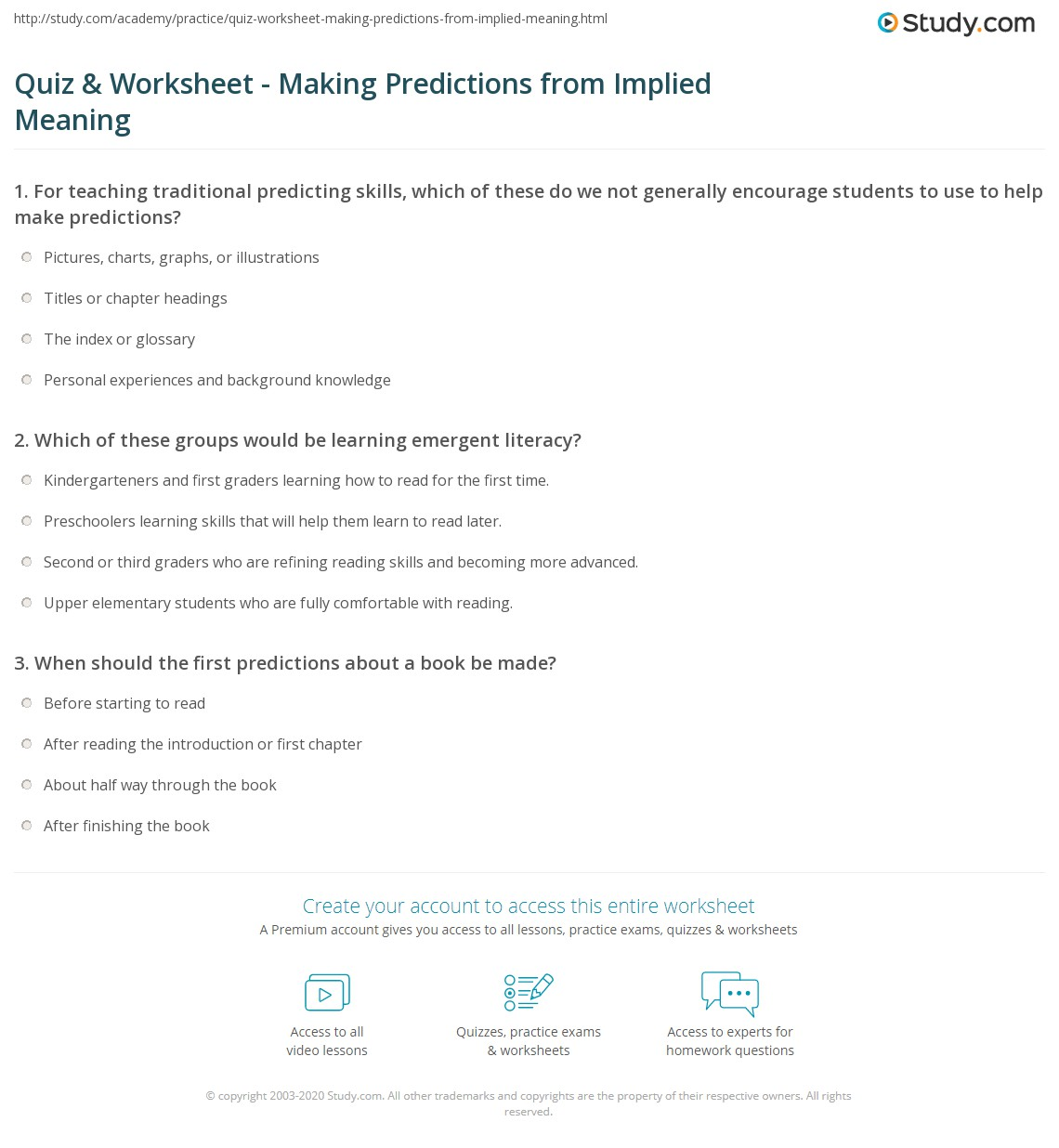 Quiz and Worksheet Making Predictions from Implied Meaning – Making Predictions Worksheet