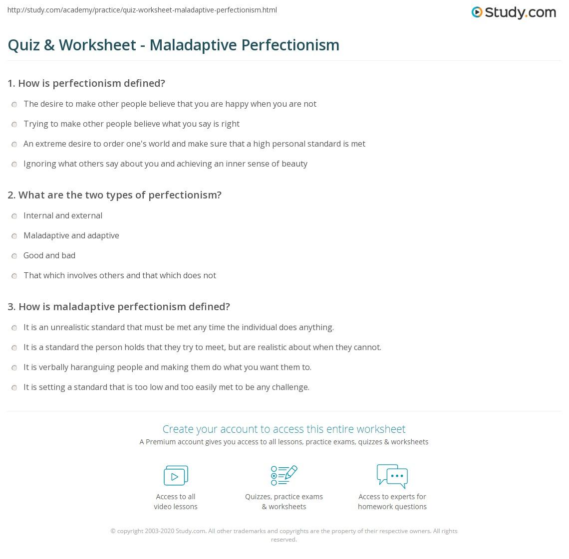 Quiz Worksheet Maladaptive Perfectionism Study