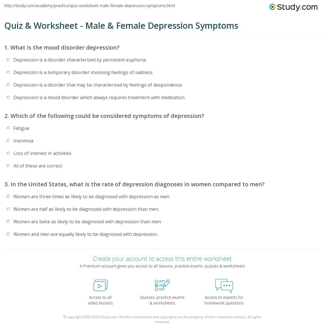 quiz worksheet male female depression symptoms study com