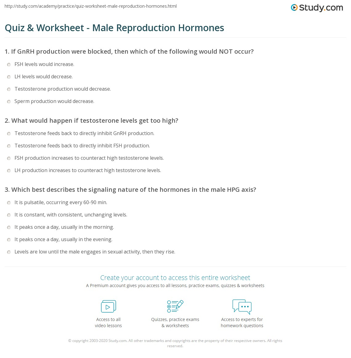 Quiz Worksheet Male Reproduction Hormones Study