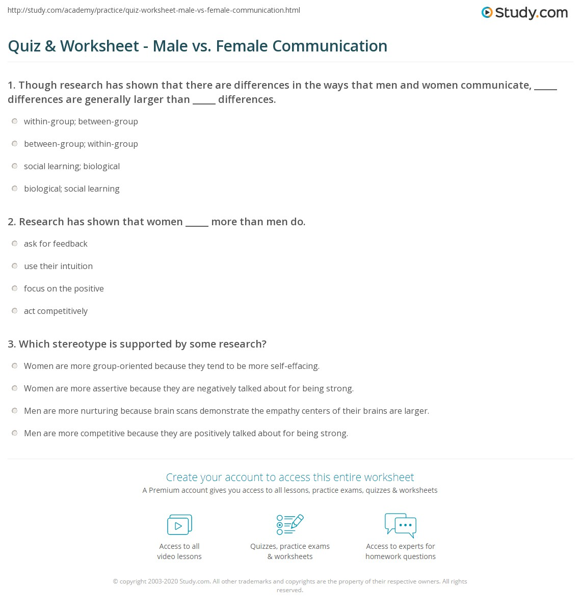 Uncategorized Assertive Communication Worksheet quiz worksheet male vs female communication study com print and styles patterns differences worksheet