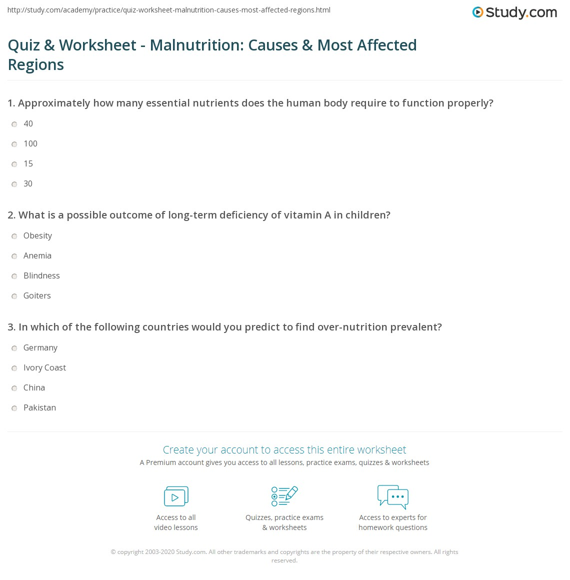 Print Malnutrition Causes Of Over Nutrition And Under Nutrition Most Affected Regions Worksheet