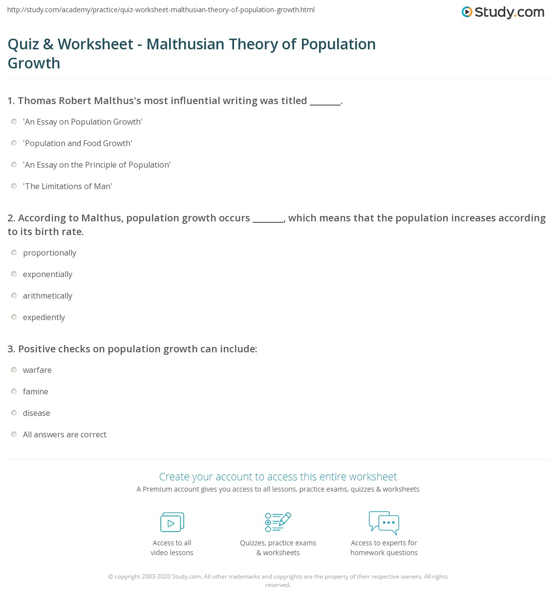Quiz Worksheet Malthusian Theory Of Population Growth