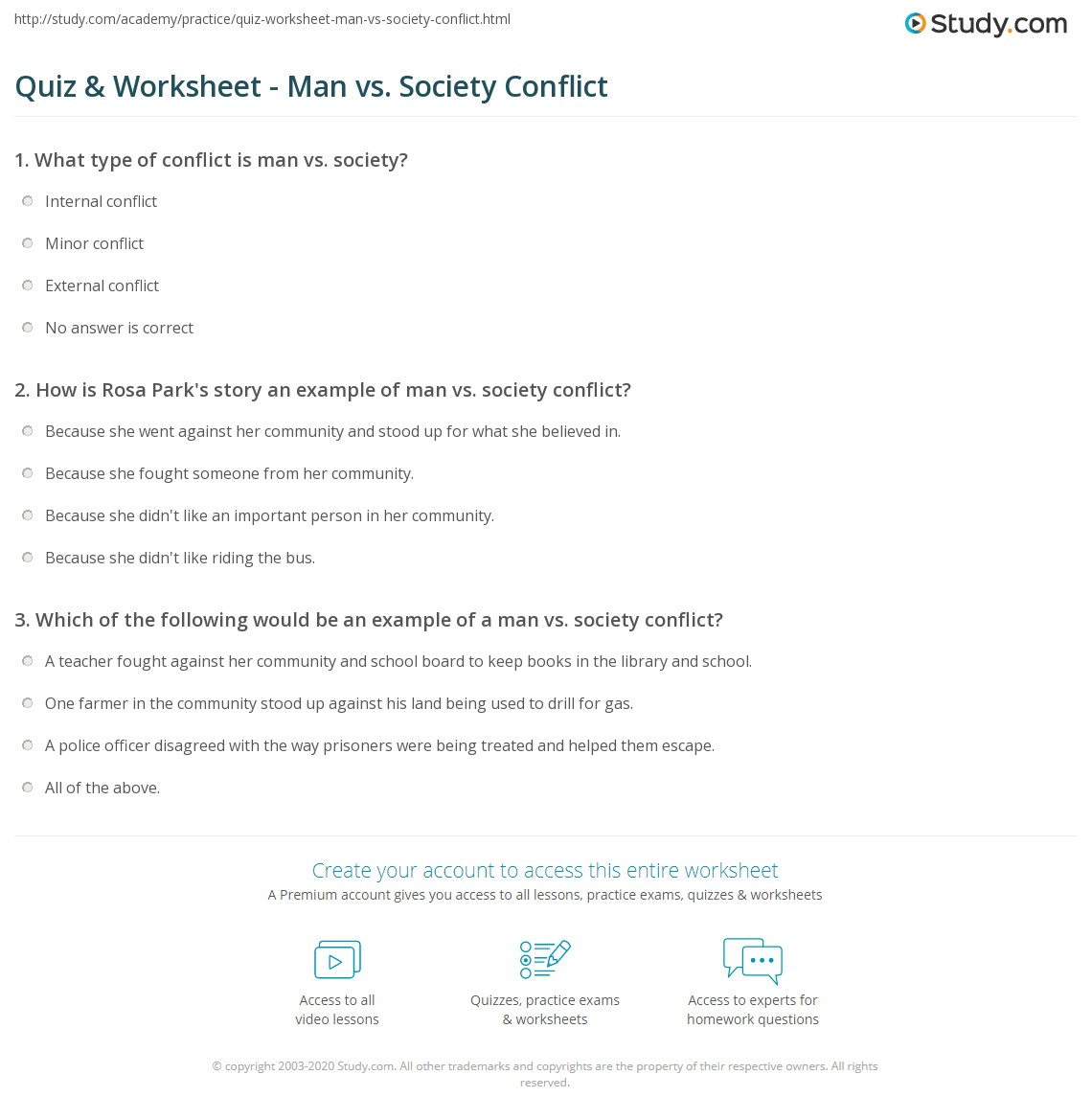 Quiz Worksheet Man vs Society Conflict – Conflict in Literature Worksheets