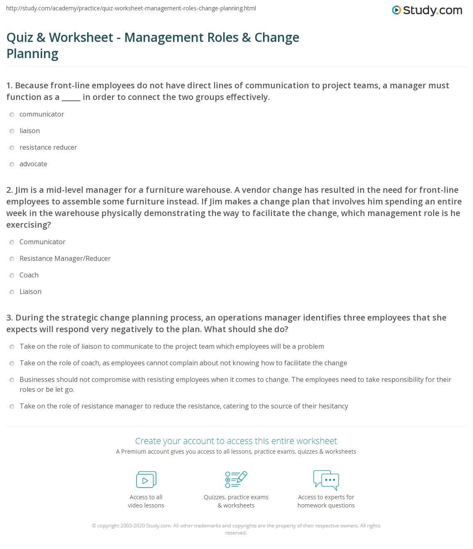 Quiz & Worksheet   Management Roles & Change Planning ...